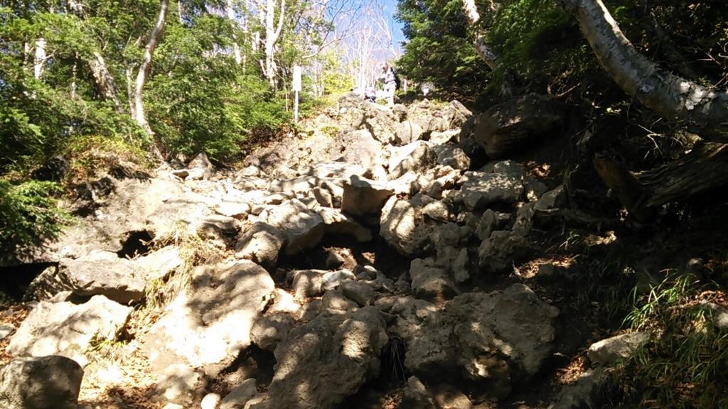 七合目の岩場