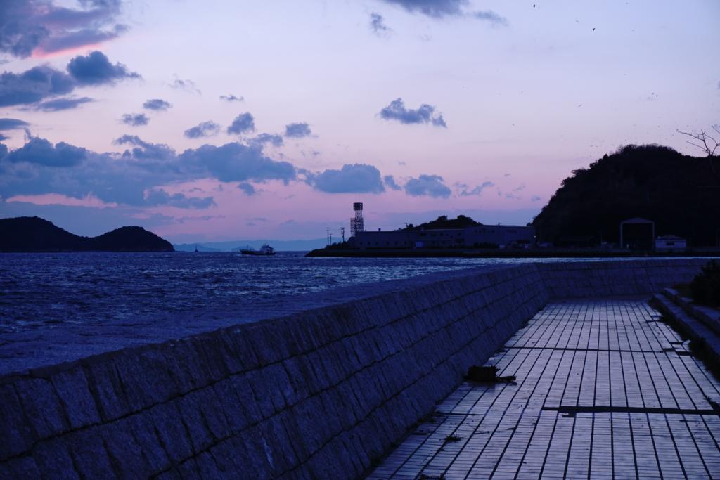 倉敷市下津井の海岸沿い