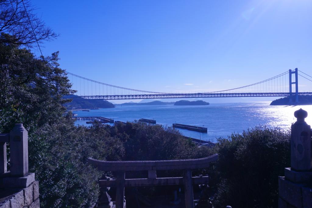 下津井の祇園神社から見える瀬戸大橋