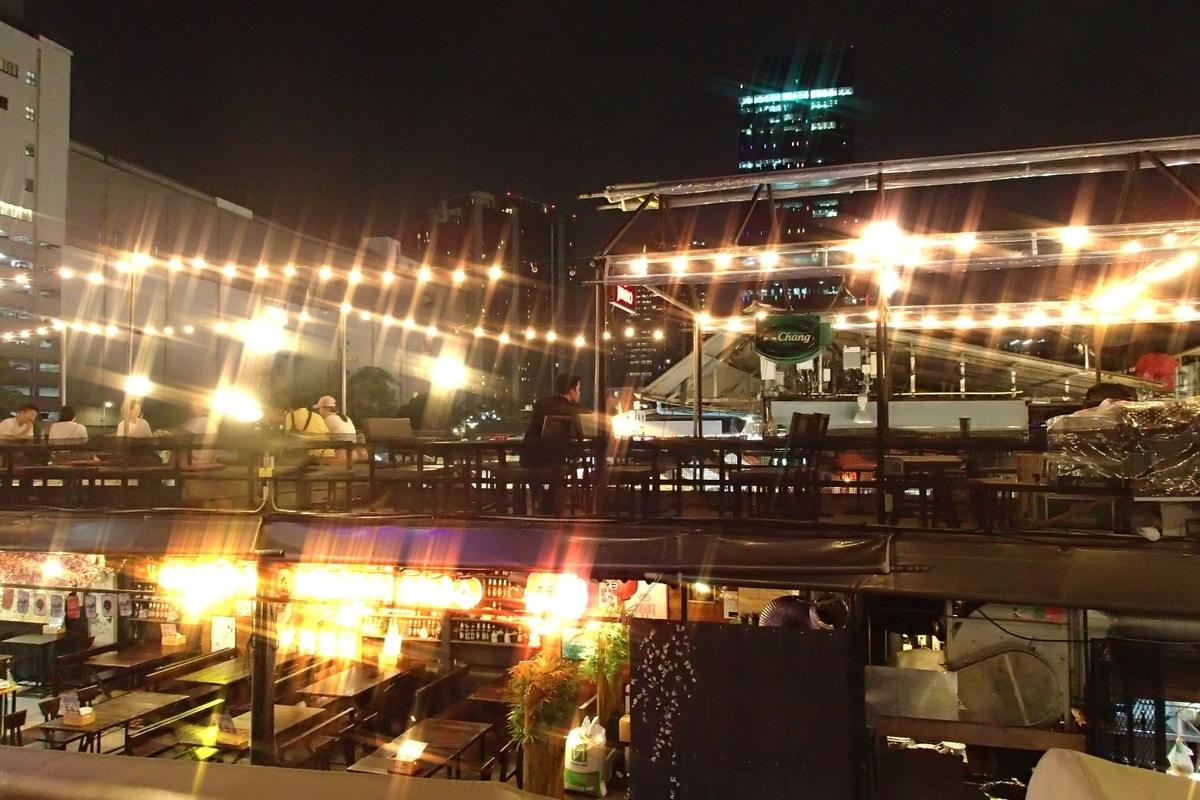 タイ・ラチャダー鉄道市場のバー二階