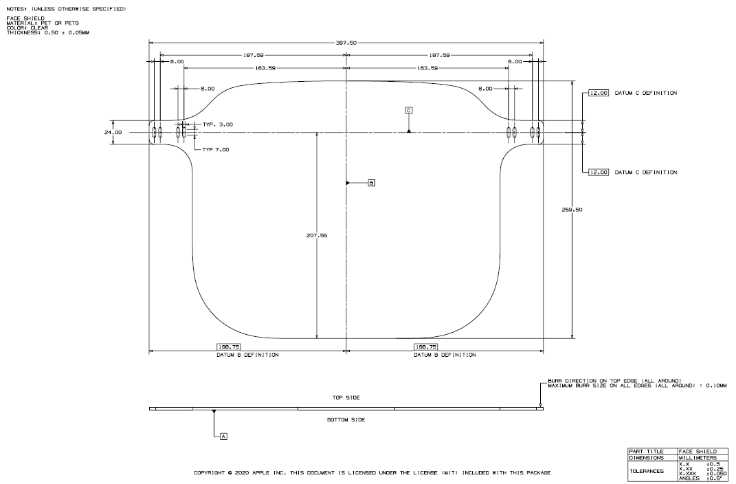 apple face shield drawing