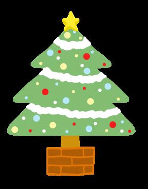 クリスマスツリー かわいい 手書き 星 オリジナルデジタル