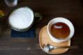 [茶][食][喫茶][Nikkor][AFS35mmF1.4G]焙じ茶ラテと焙じ茶プリン