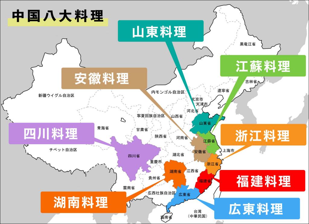 中国八大料理(中国八大地菜) 分布図