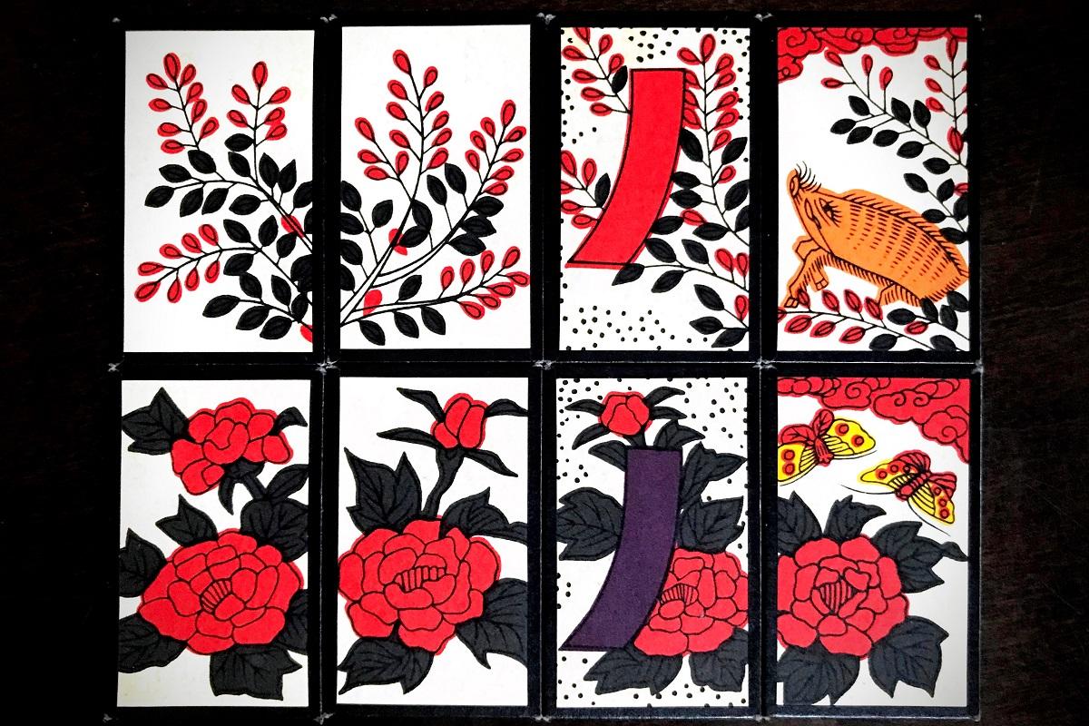 花札に描かれている萩の花と牡丹の花