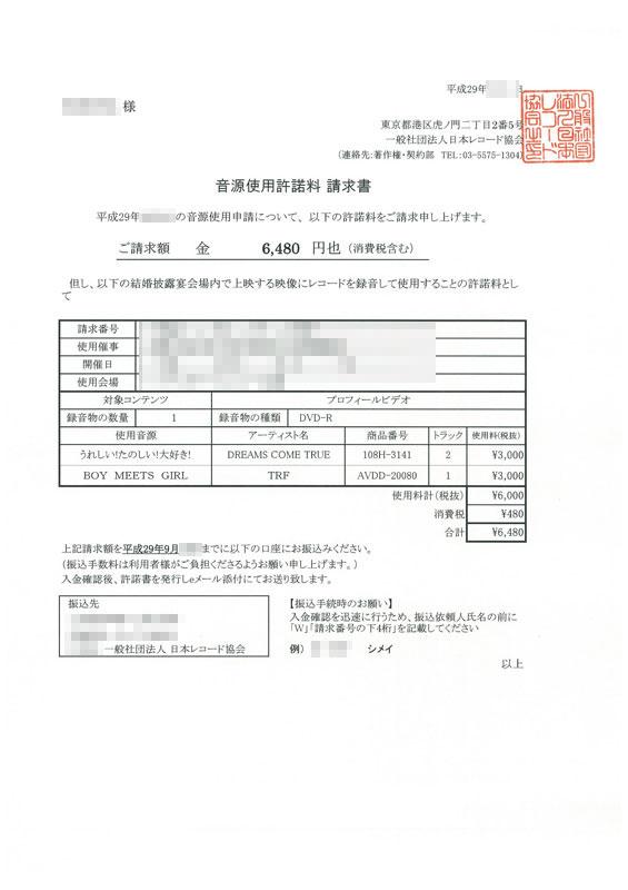 日本レコード協会著作隣接権請求書
