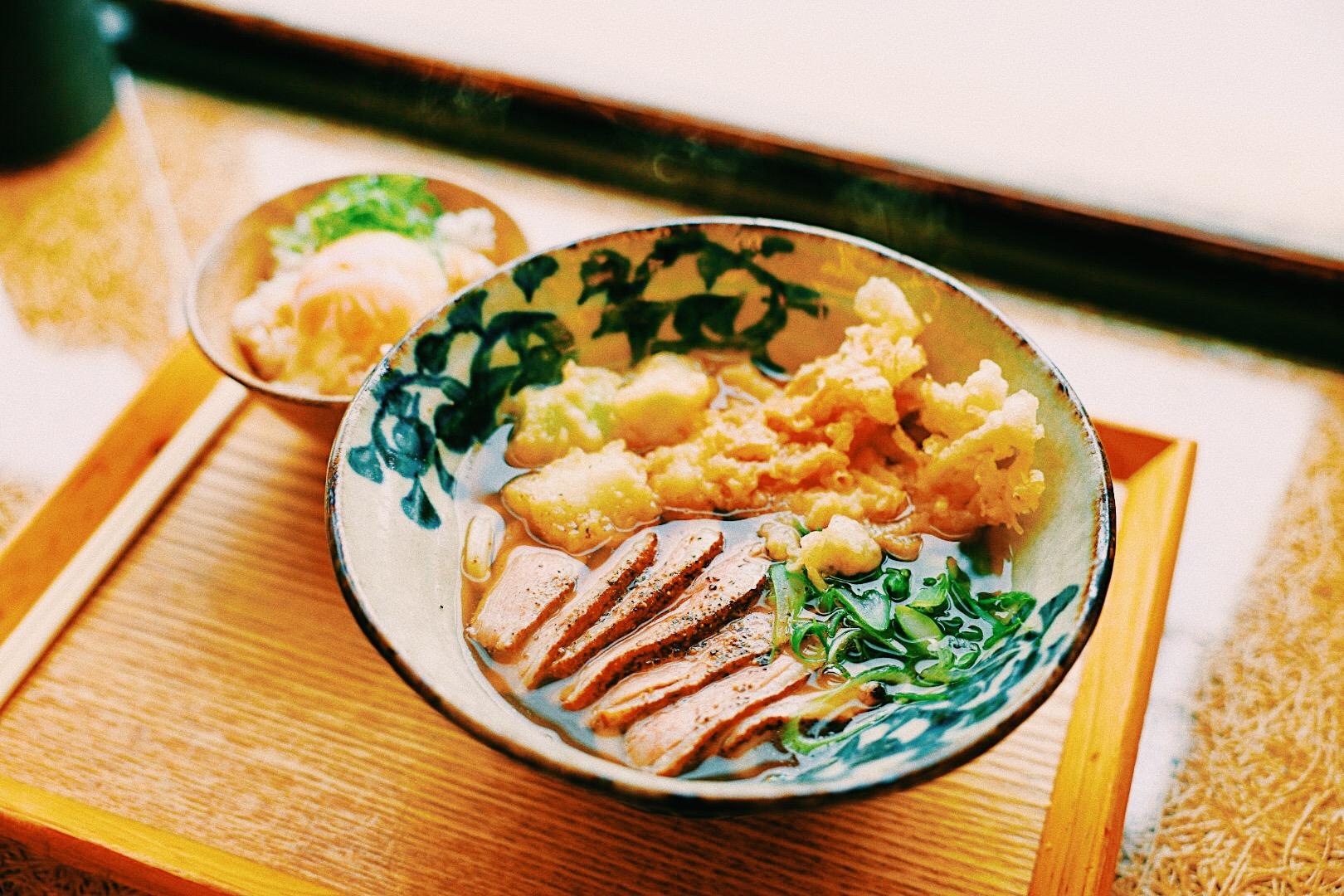 炙り鴨うどん+温玉ご飯セット