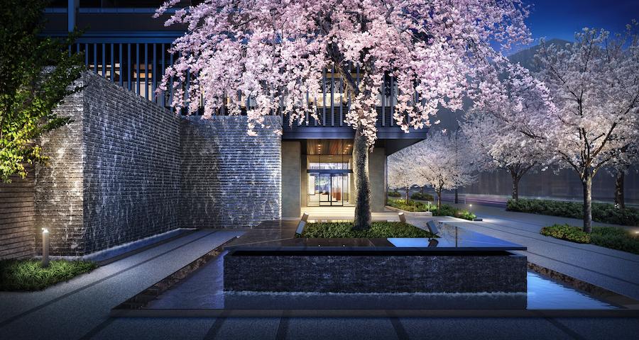 枝垂れ桜の咲くエントランス(完成予想図)