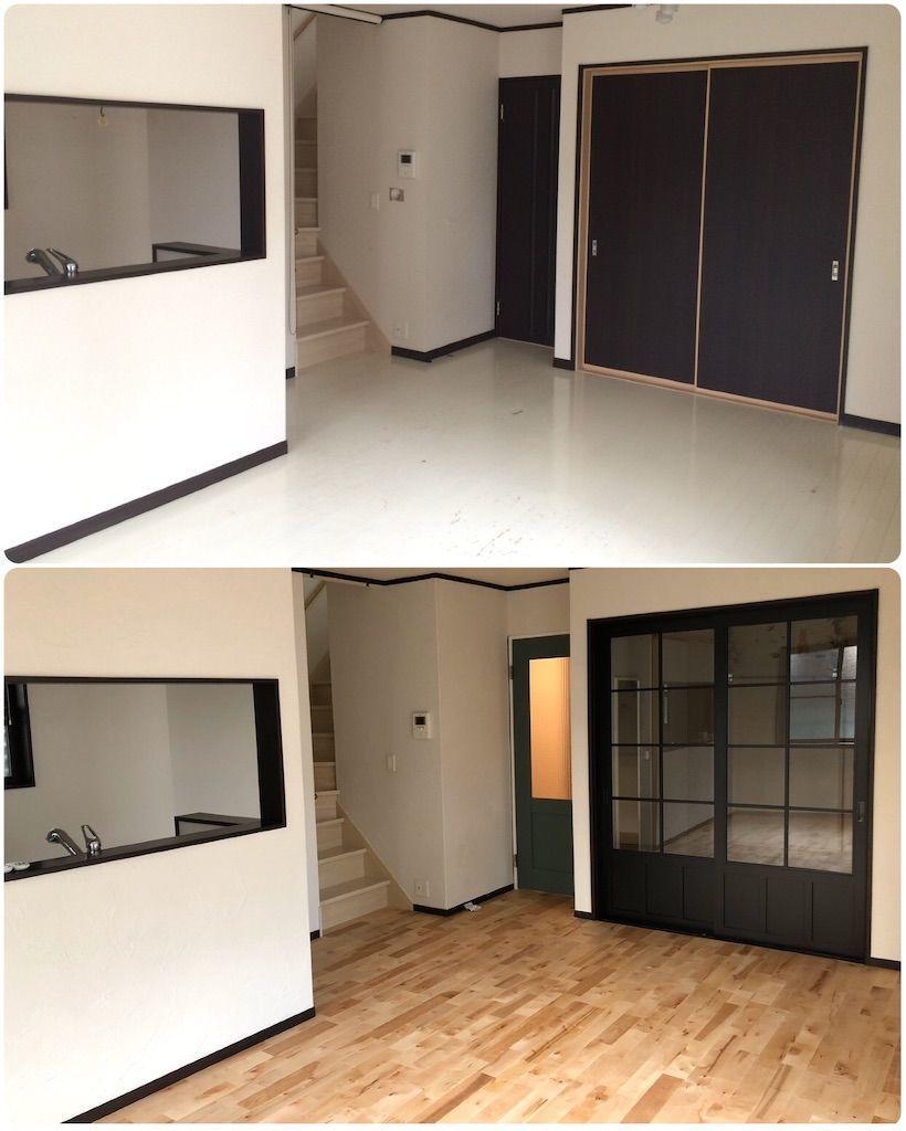 リビングのリフォームビフォーアフター画像。床は樺の無垢材で壁は珪藻土。そして建具はグリーンの扉にし、和室につながる引き戸は黒枠でガラス張り