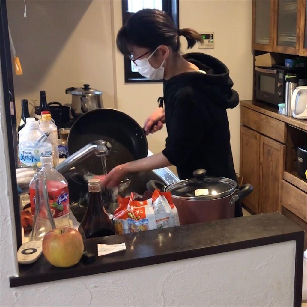 キッチン片付け。フライパンを洗う女性