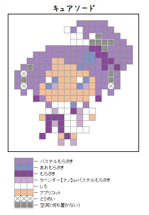 『キュアソード』のアイロンビーズ図案