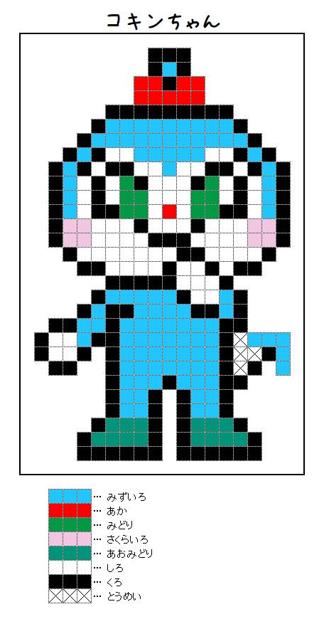 『コキンちゃん』のアイロンビーズ図案