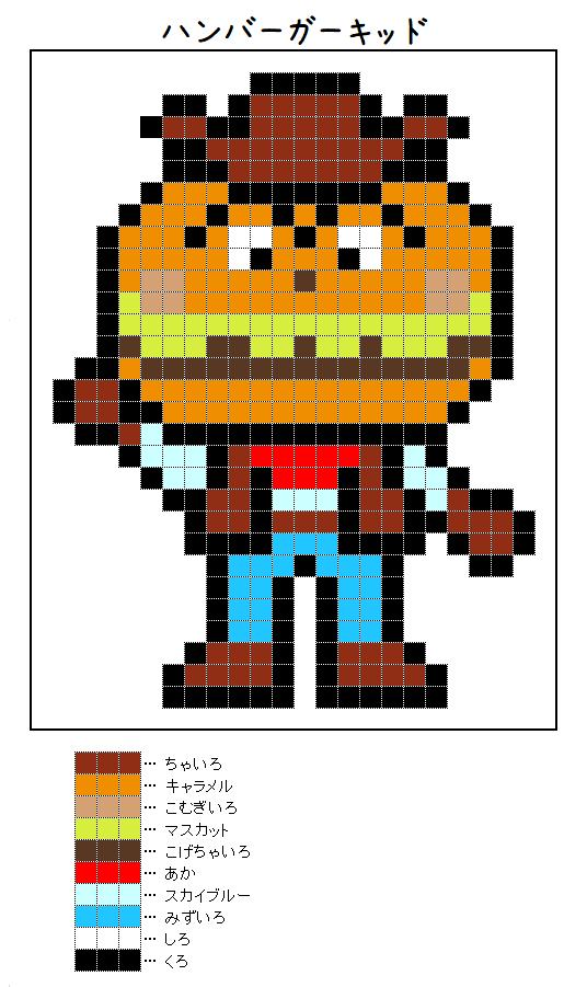 『ハンバーガーキッド』のアイロンビーズ図案