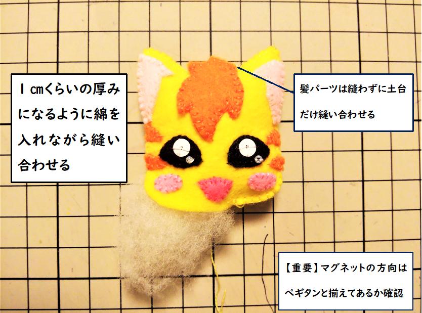 【ニャトラン③】綿を入れながら縫い合わせて完成