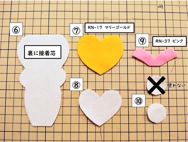 【中央①】各パーツを準備し、縫い合わせる