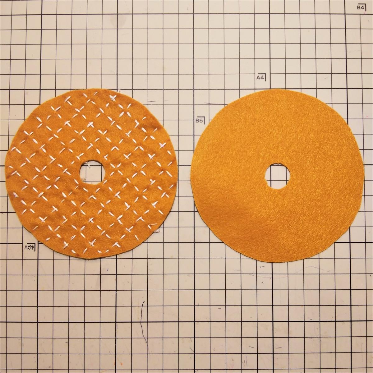 シュガーレイズドの作り方② 刺繍が終わったら重ねて縫い合わせる