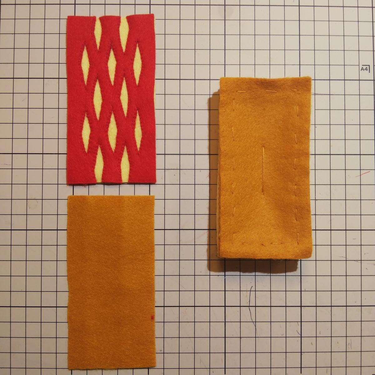 フェルトの『パイ』の作り方⑨ 重ねて縫い合わせる