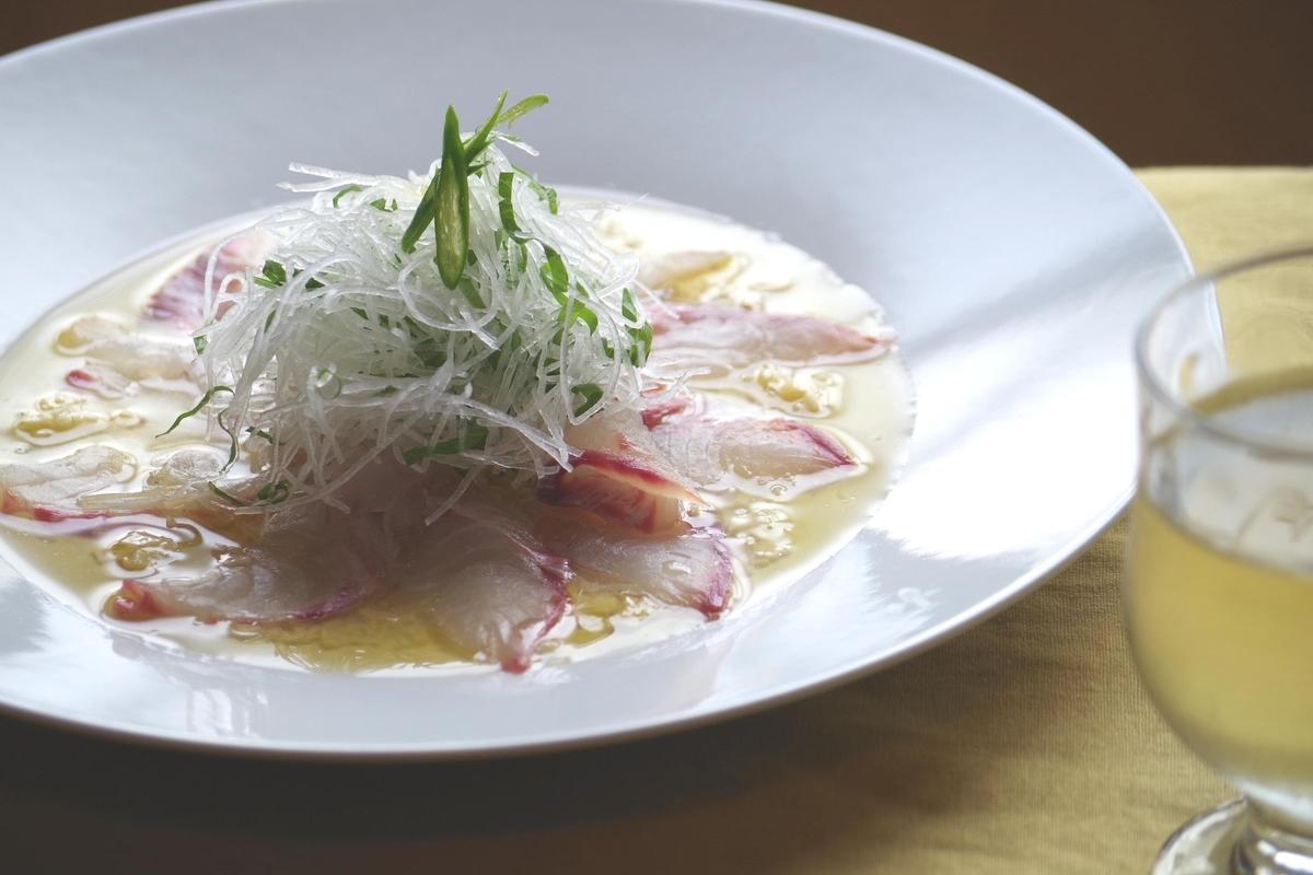Goldlined seabream carpccio with flavor Kyoto