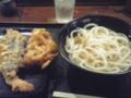 [食][うどん]ひやかけ大+げそ、なす、かきあげ@東京麺通団