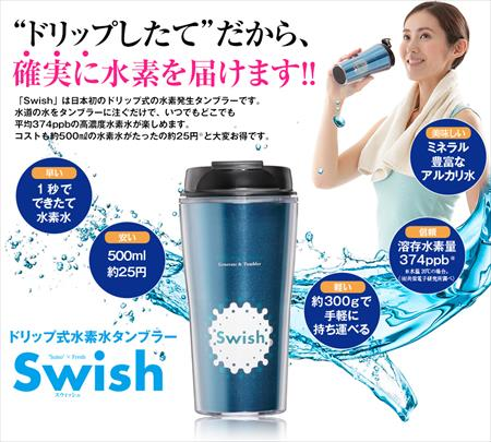 ドリップ式水素水タンブラーSwishは誰でも簡単に使いこなせちゃう♪
