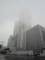 ビルの先が霞むほどの霧と雨。