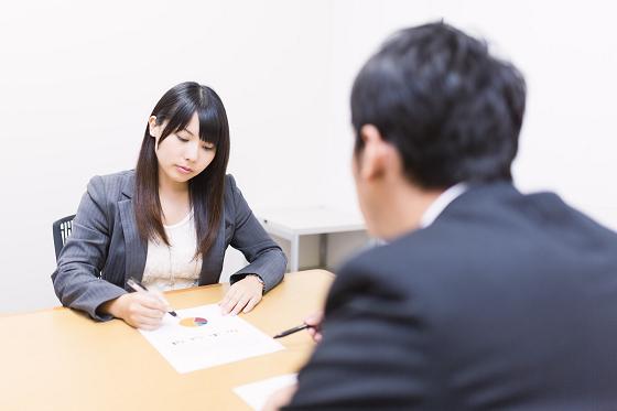 仕事上必要なコミュニケーションをとる男性と女性