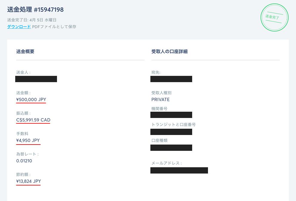 TransferWiseを実際に使い、送金完了した画面を添付。1万円ほど安く送ることができました。