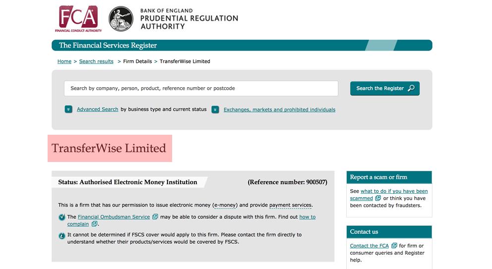FCAのウェブサイト画像 TransferWiseはFCAに認められているという説明