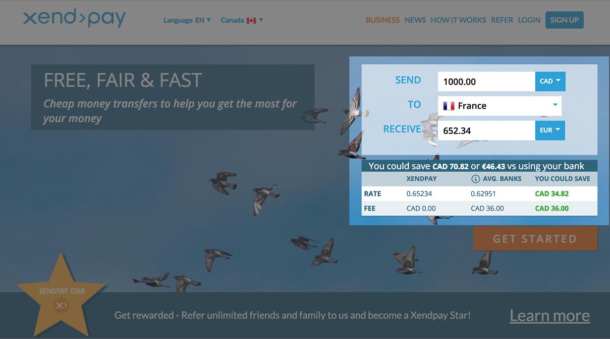 Xendpayのトップ画面。右側にお金をいくら遅れるかシュミレーターがありますので、あなたの送り先の国を扱っているか確認しましょう