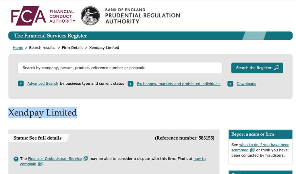 FCAのウェブサイトでXendpayが登録されている 安心の証です