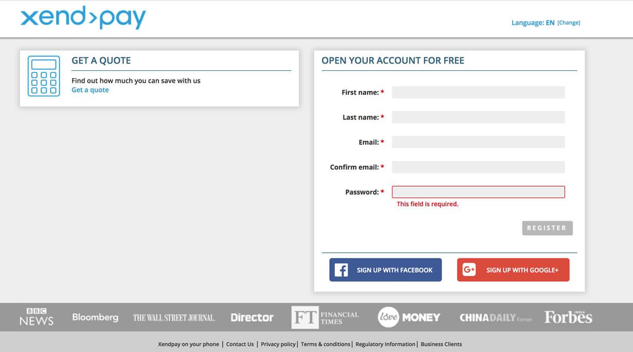 Xendpayのアカウント登録画面