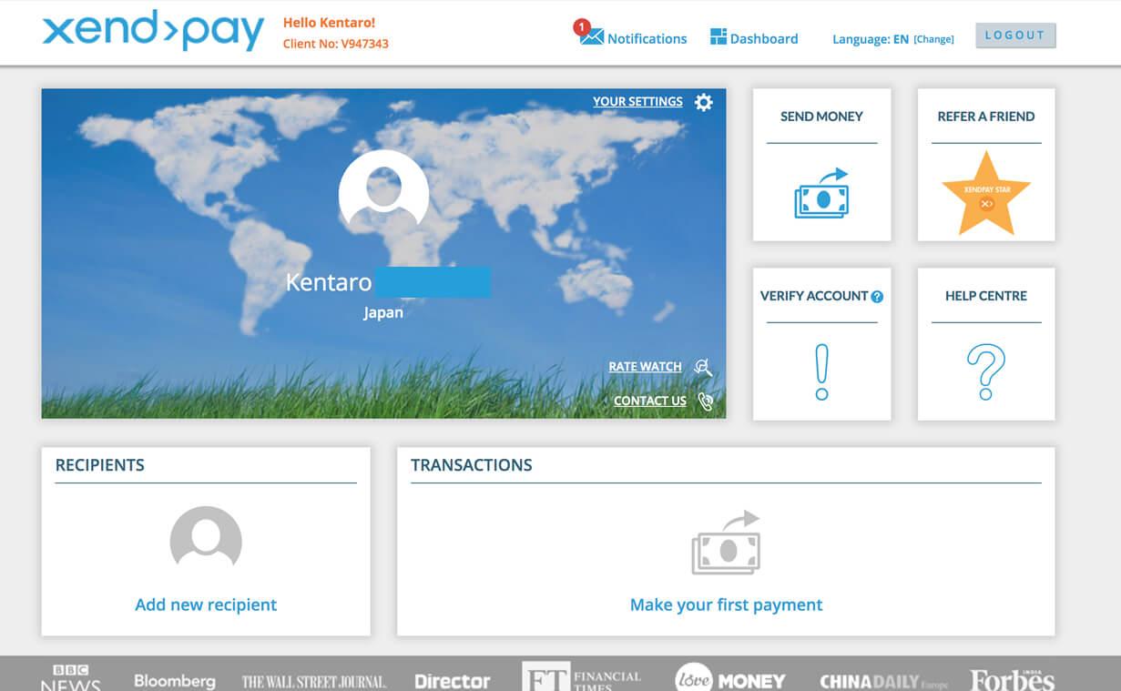 Xendpayのアカウントトップ画面