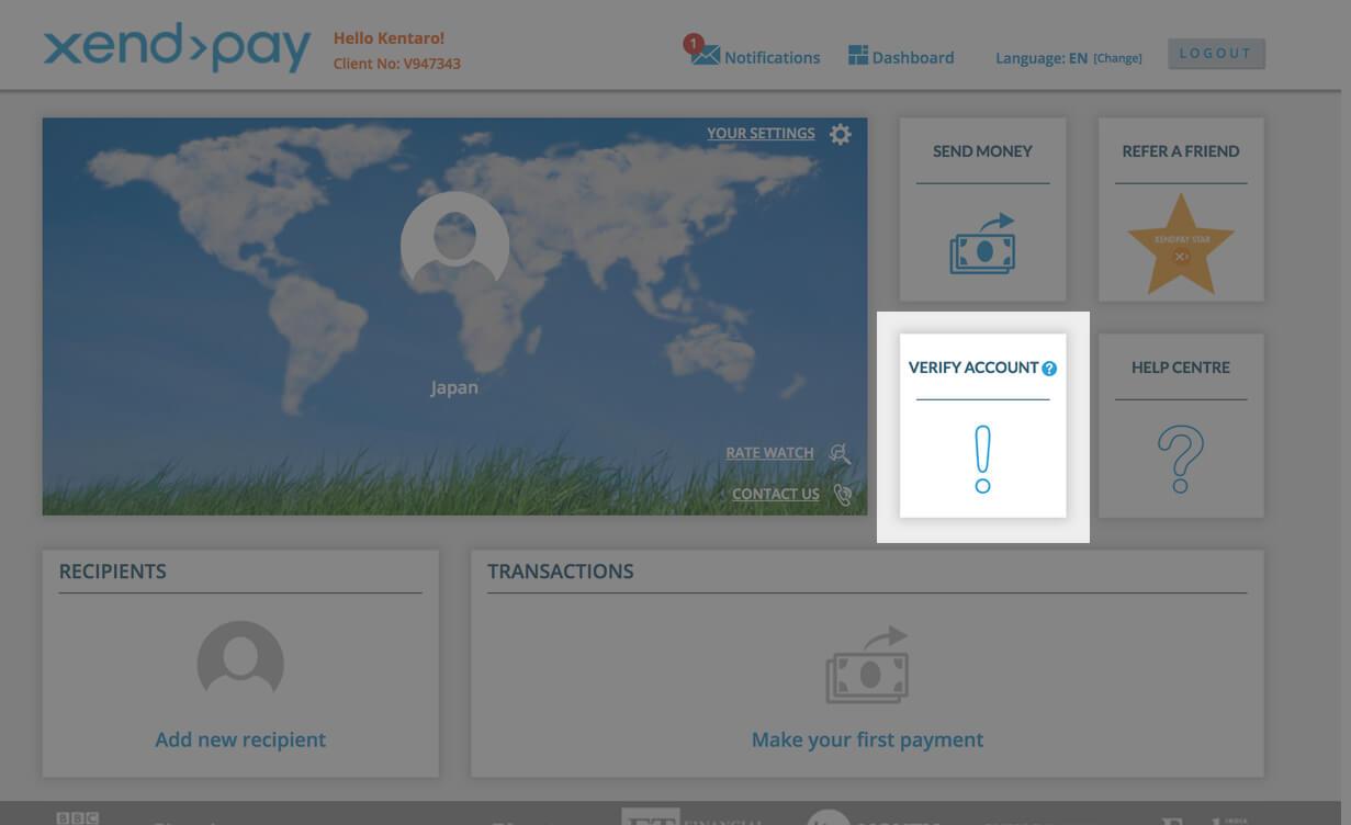 Xendpayのアカウントトップ画面 verify accountを押しましょう。