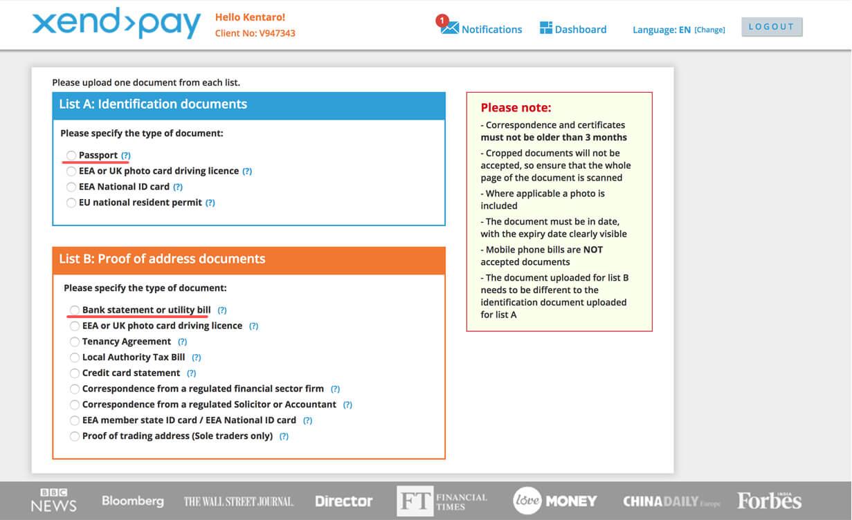 Xendpayの本人確認書類提出画面