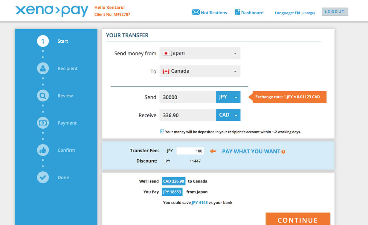 Xendpayの送金申請画面1 送り退学と手数料を決める