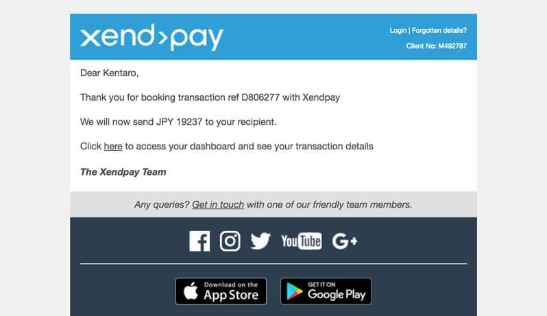 Xendpayから入金が確認できたとの報告メール