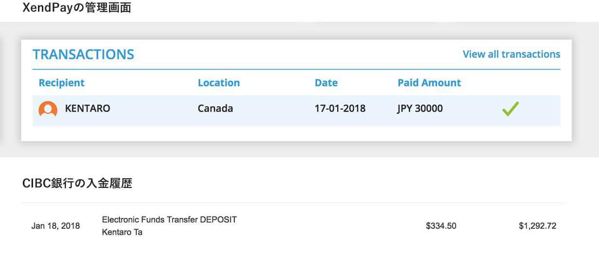 Xendpayの送金完了画面とCIBC銀行の着金履歴 なんと1日で海外送金できました