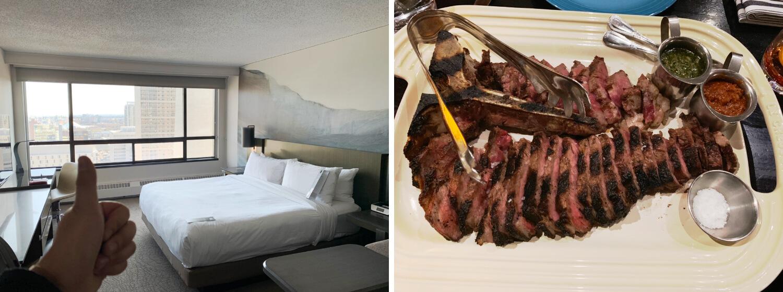 実際にマリオットホテルの部屋に泊まったときの写真と、浮いたお金で熟成アルバータ牛のステーキをいただいたときの写真です!