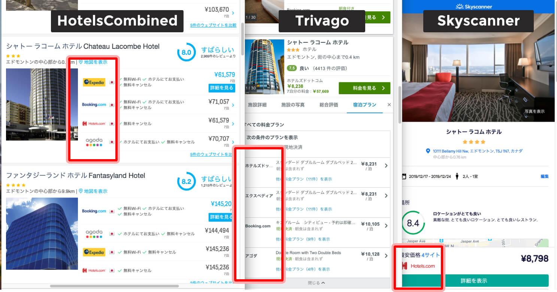 3社の比較サイトで全く同じ日程・ホテルを検索すると、大体この3社の予約サイトしか比較として表示されません。