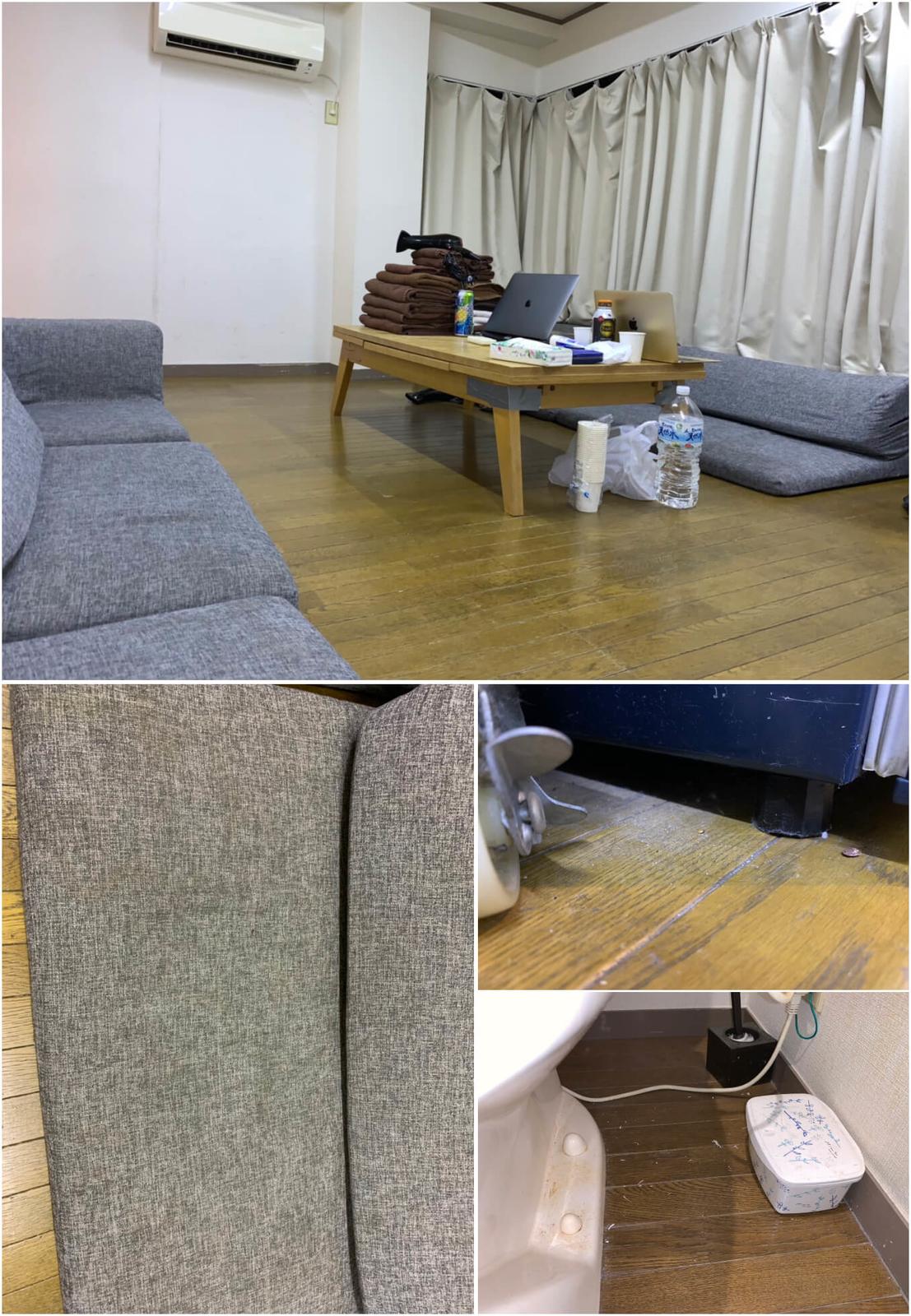 実際に泊まりに行くとこのような有様でした...写真と全く違い清潔感もテーブルもカーペットもありませんでした