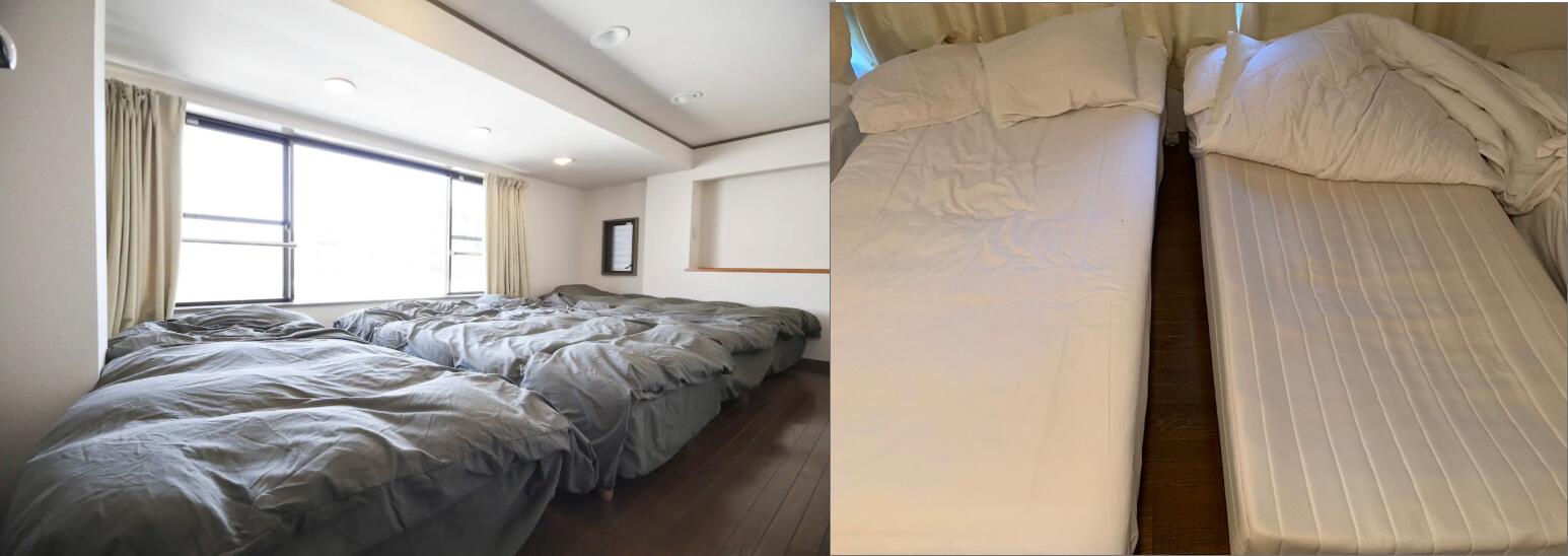 ベッドはあるものの、内一つはスプリングが逝かれてしまったベッド。