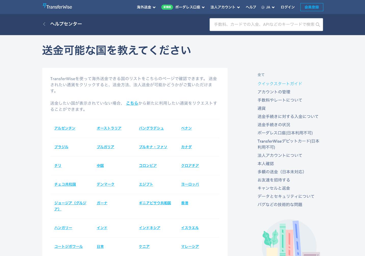 Transferwiseの利用可能国のページ。利用する前に、あなたの利用したい国がサポートされているかどうか確認しておきましょう。