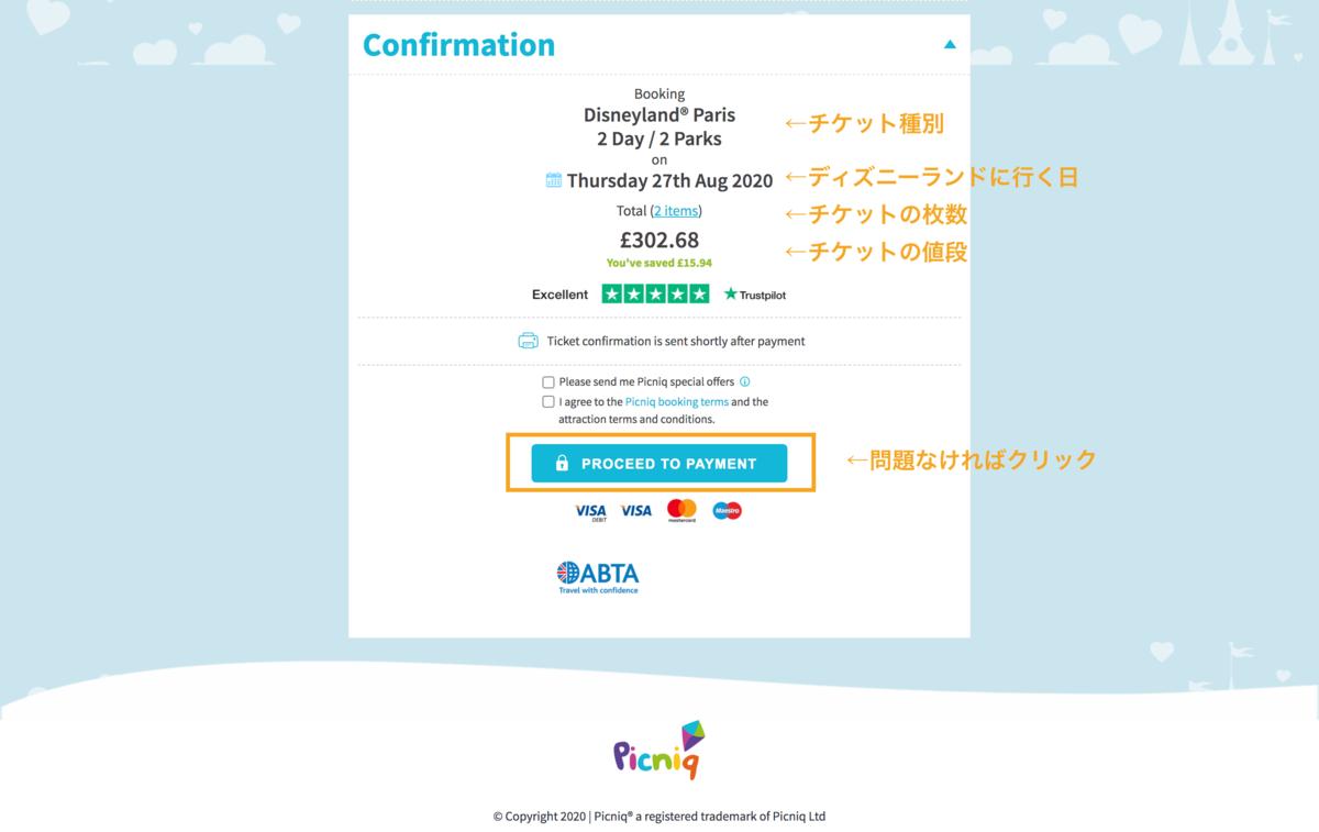購入するチケットの確認画面。問題なければPROCEED TO PAYMENTボタンを押す。