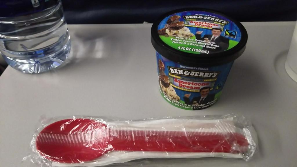 f:id:thecongress:20180625224100j:plain デルタ航空で提供されたおやつのアイス
