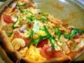 サラミ、トマト、ピーマンにアンチョビのピザ3