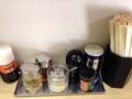 [恵比寿][ラーメン][チャーハン][とんかつ]調味料類は定番+とんかつ用と思われる中濃ソース