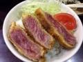 [新橋][牛かつ][和食][定食・食堂]なんせ10切れはありますからね、野菜も乗せて特製牛かつ丼にしてみた