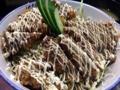[新橋][和食][牛かつ][丼もの][お好み焼き][定食・食堂]特製ソースとマヨネーズでひたひたになった牛かつ