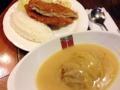 [新宿][新宿三丁目][洋食][コーヒー][定食・食堂]スプーンで簡単に切れるロールキャベツ+豚ミンチかつセット