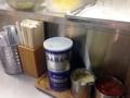 [千駄ヶ谷][国立競技場][ラーメン]卓上調味料はブラックペッパー、おろしニンニク、辣醤
